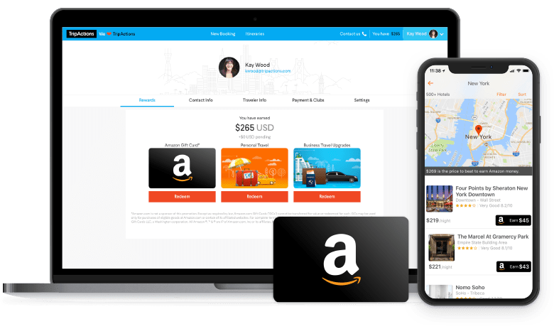 TripActions Product Screenshot - Earn traveler loyalty points and rewards