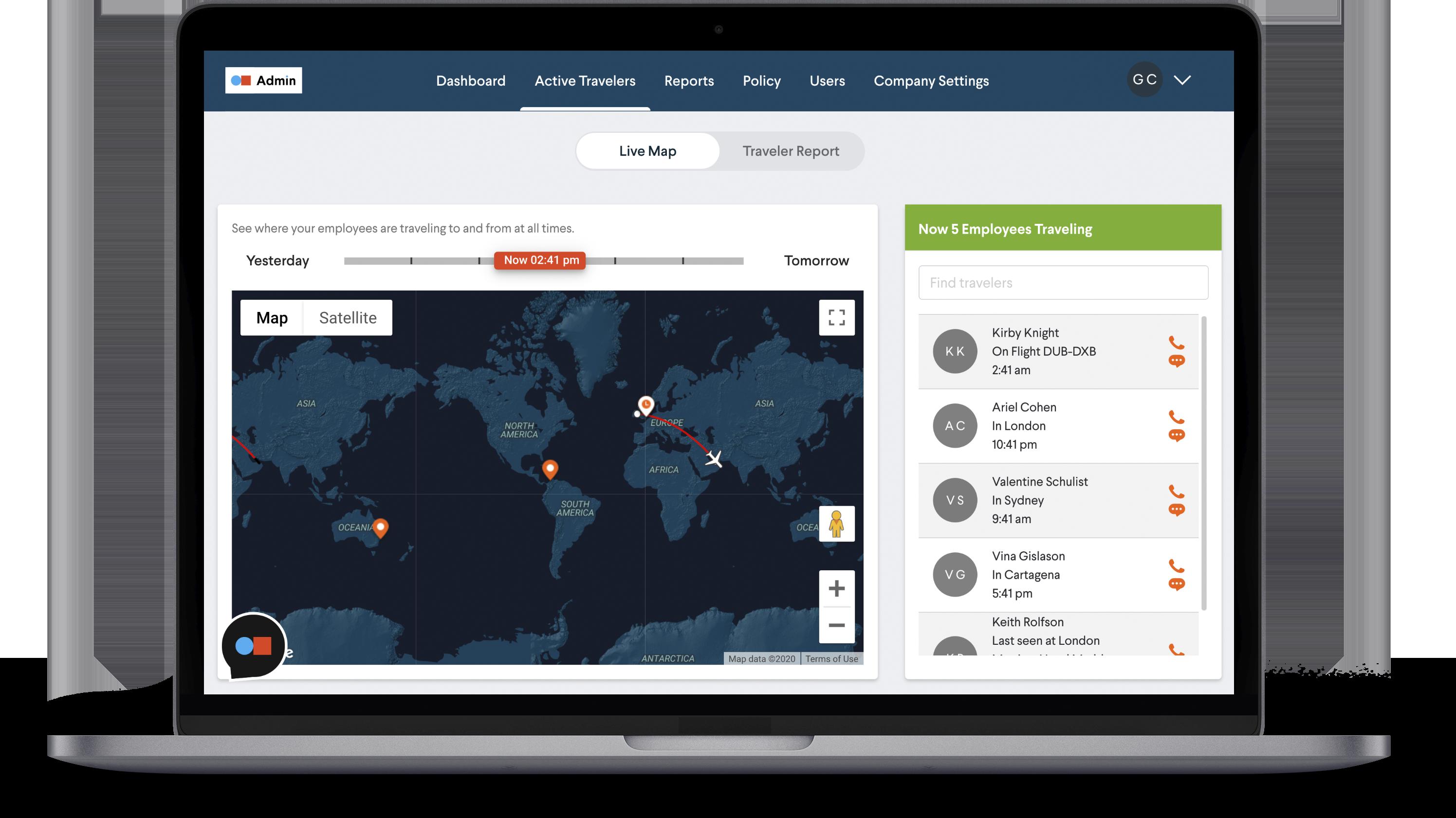 Business Traveler Continuity - Active traveler map