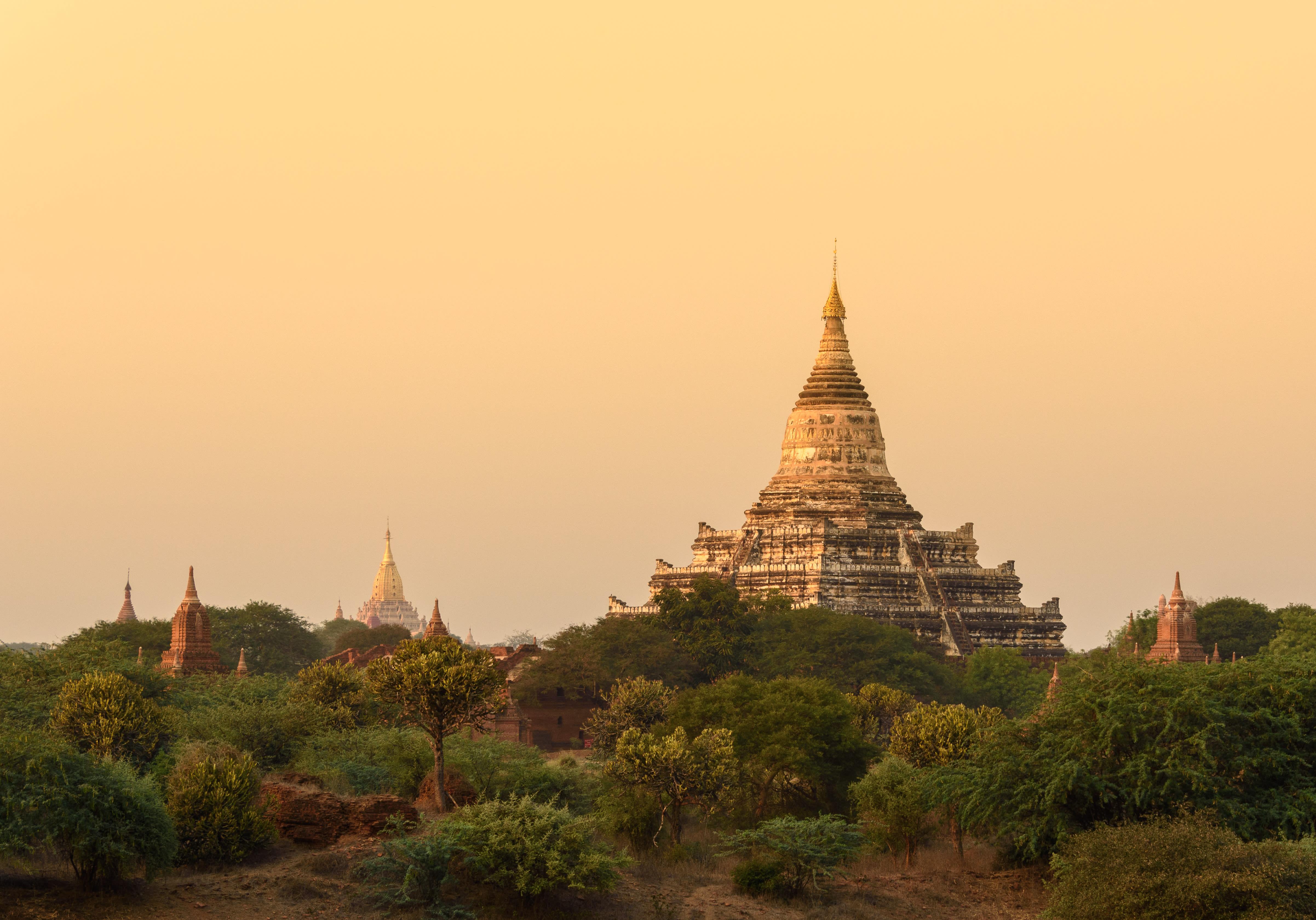 Bagan, Myanmar View Overlooking Temple Through Trees