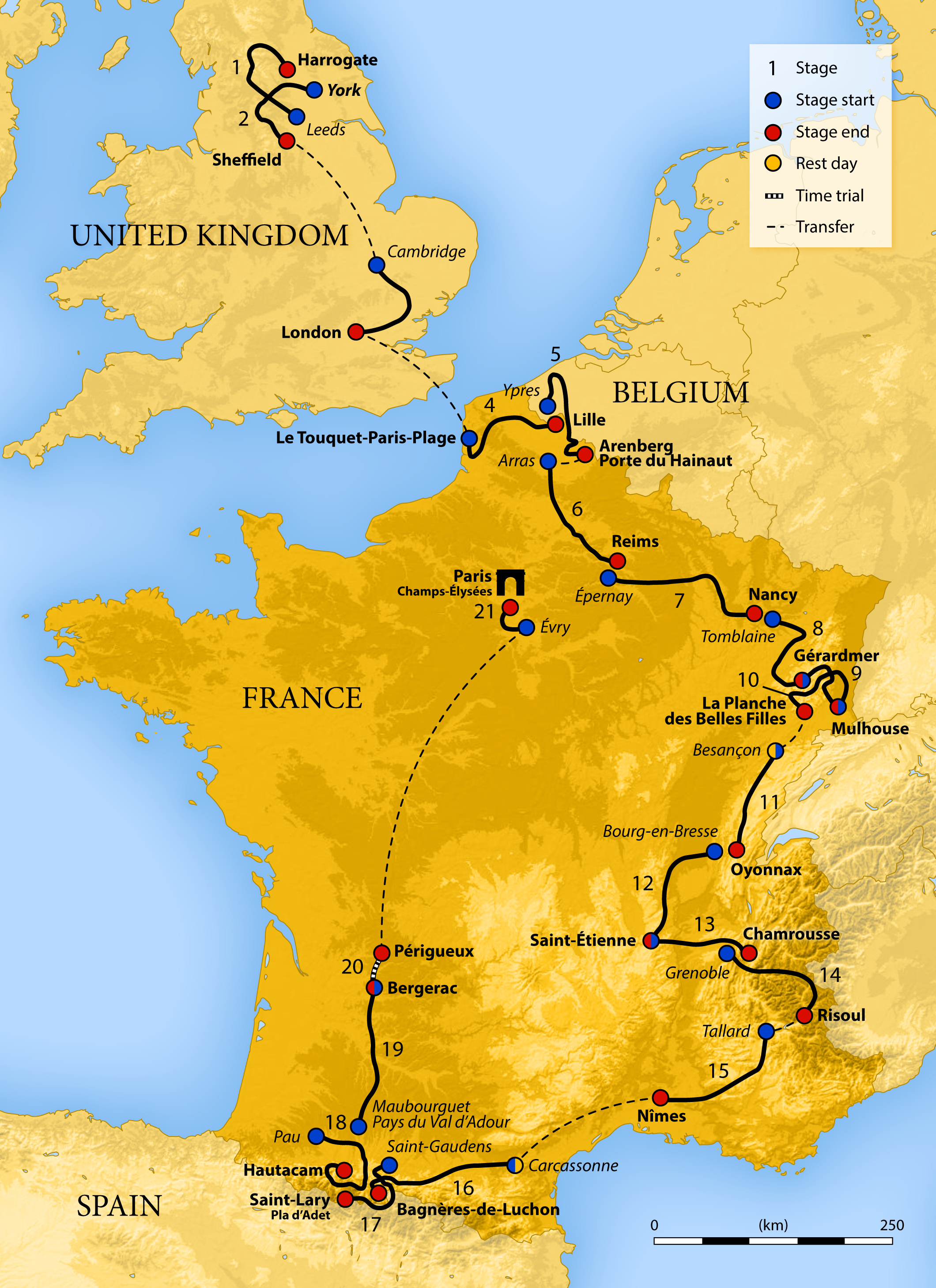 2014 Tour De France starting in Yorkshire and ending in Champs-Élysées