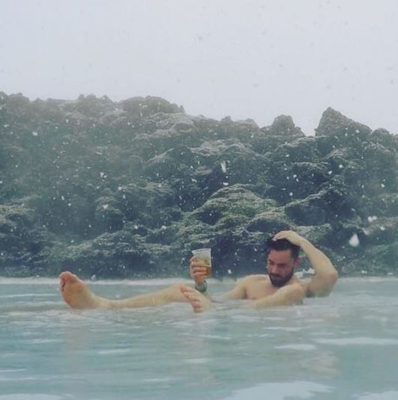 Enjoying a drink in the blue lagoon