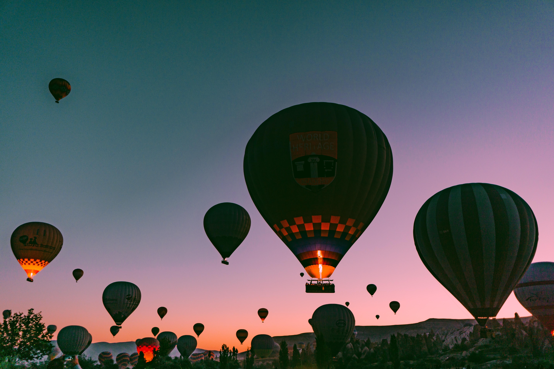 The hot air balloons of Cappadocia at night