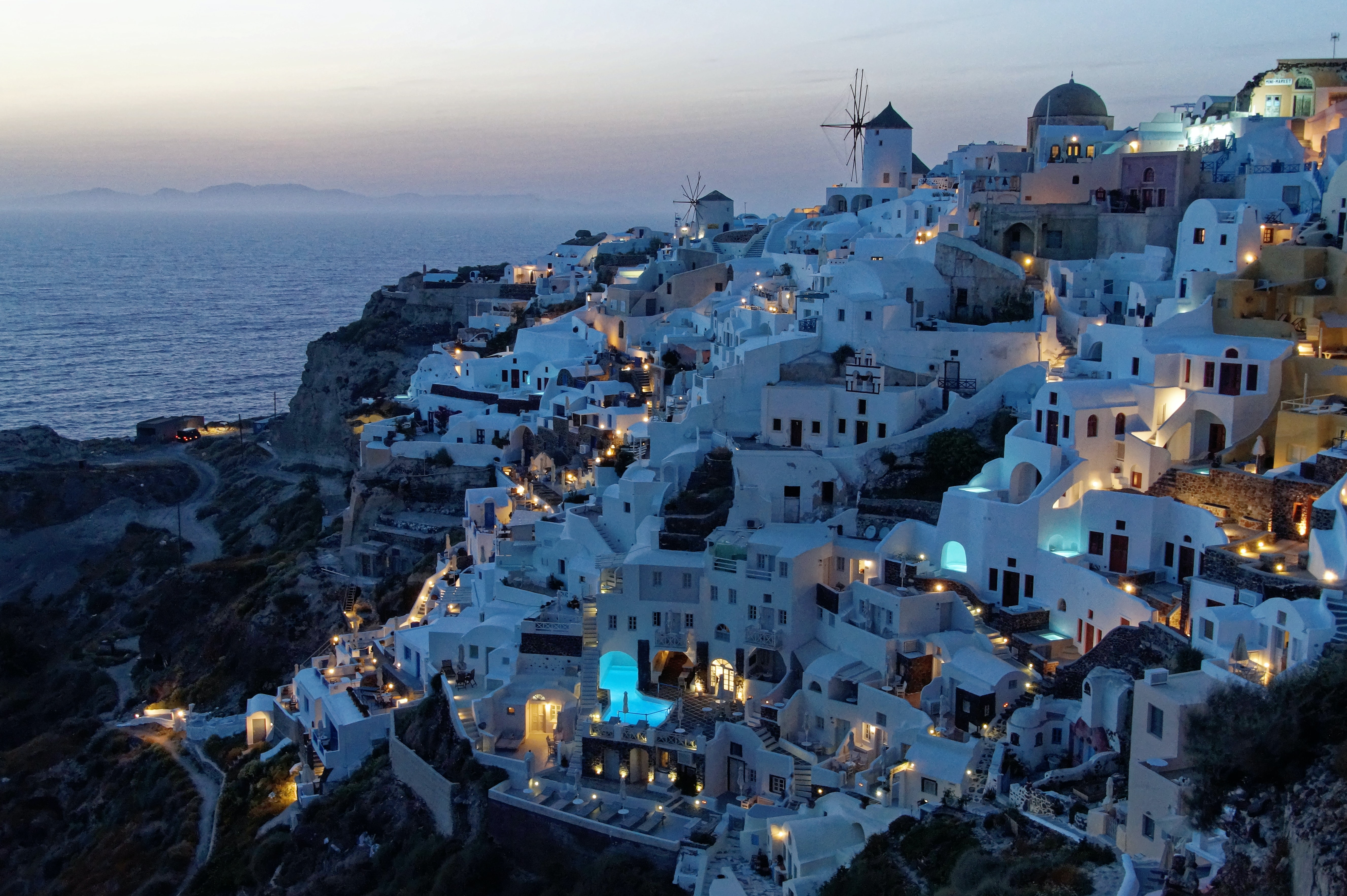 White painted houses of santorini at night