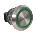 Piezo lystrykknapp grønn IP69K 24VDC 22,5mm m/symbol