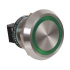 Piezo lystrykknapp grønn IP69K 24VDC 22,5mm m/tekst 20pt