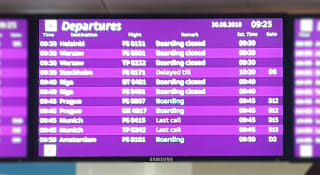 לוח זמנים של טיסות יוצאות
