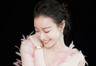 倪妮粉色羽毛长裙似优雅天鹅