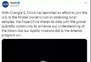 """在NASA关于""""嫦娥五号""""的推文下,外国网友先吵起来了……"""