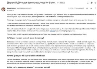 硅谷科技公司CEO写信千万用户 呼吁投票支持拜登