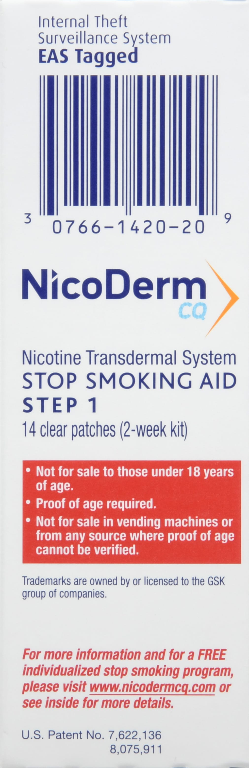 NicoDerm CQ Stop Smoking Aid Clear Patches Step 1 21mg 14 Count