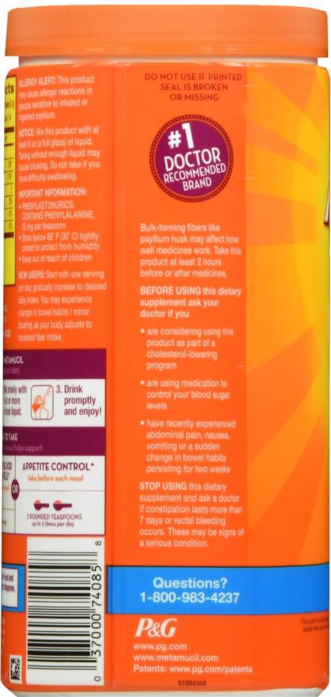Metamucil Psyllium Fiber Supplement Orange Powder