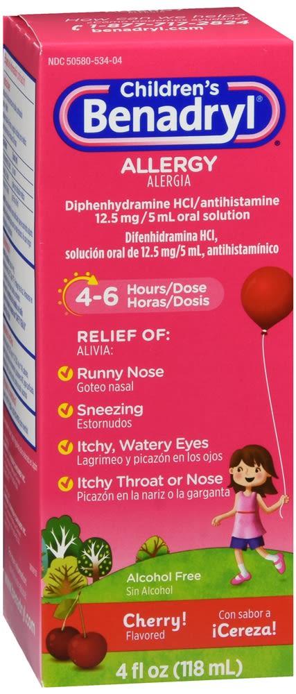 Benadryl Children's Allergy Liquid Cherry Flavored