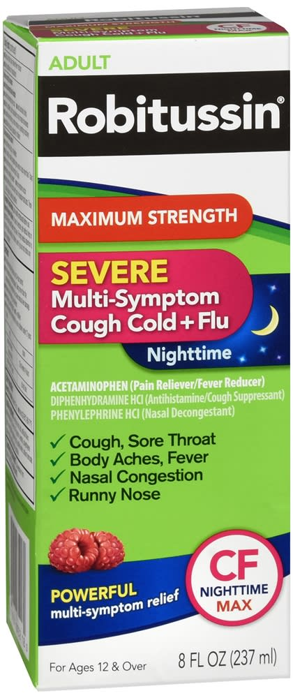 Robitussin Severe Multi-Symptom Cough Cold + Flu Nighttime Liquid Maximum Strength