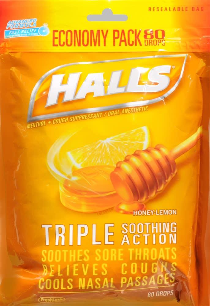 Halls Menthol Cough Suppressant Oral Anesthetic Drops Honey-Lemon