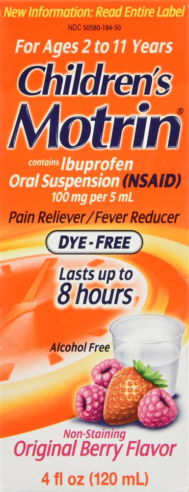 Motrin Children's Ibuprofen Oral Suspension Dye-Free Original Berry