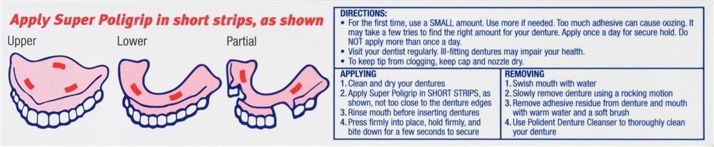 Super Poligrip Denture Adhesive Cream Zinc Free