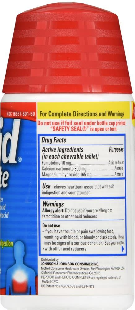 Pepcid Complete Chewable Tablets Mint Flavor