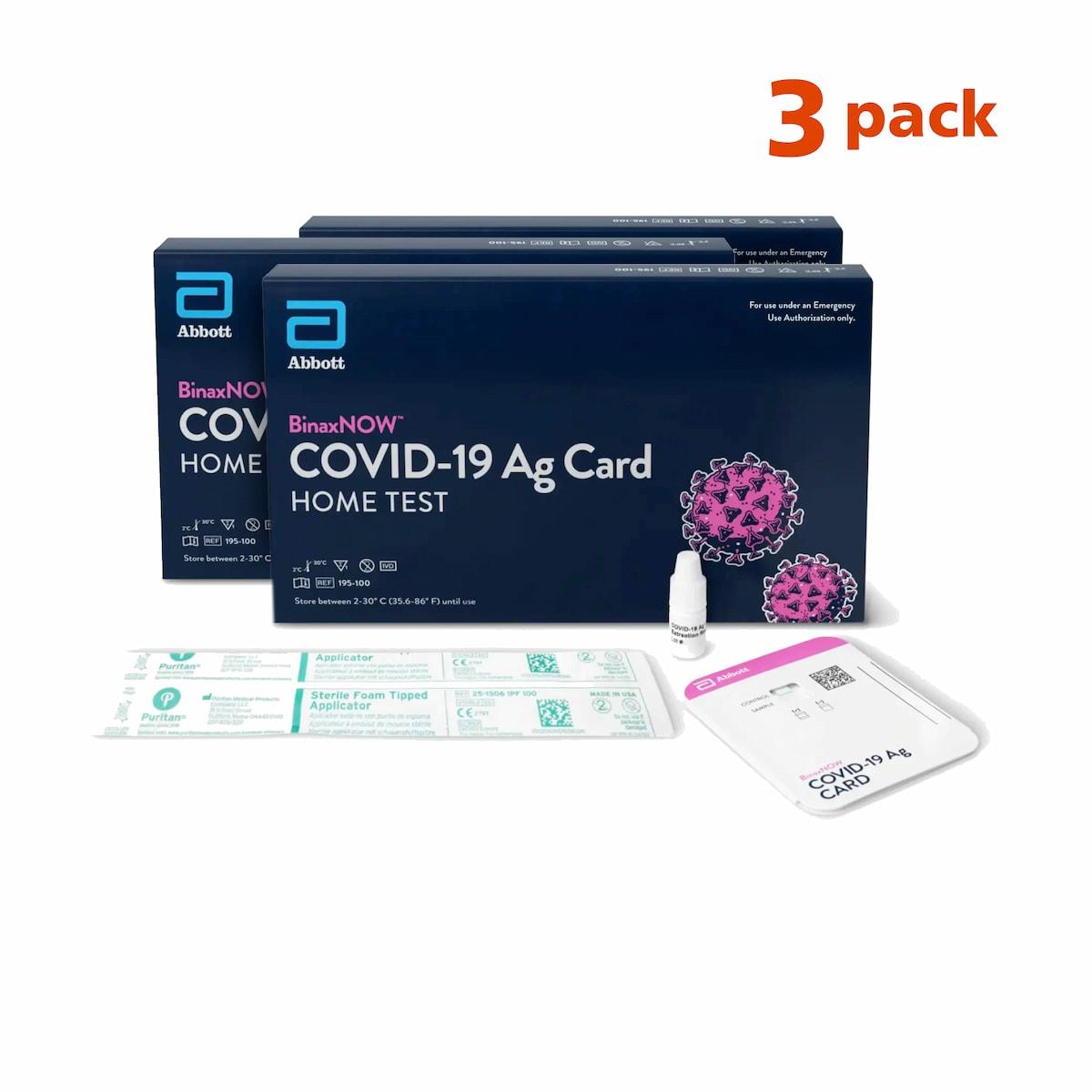 COVID-19 Test - Abbott's BinaxNOW™ Ag At-Home Kit 3 Pack
