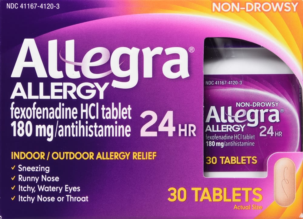 Allegra 24 Hour Allergy Relief Non-Drowsy 180mg Tablets - 30 Count