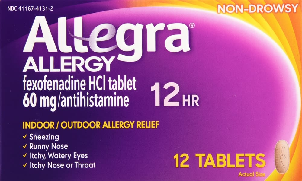 Allegra 12 Hour Allergy Relief Non-Drowsy 60mg Tablets - 12 Count