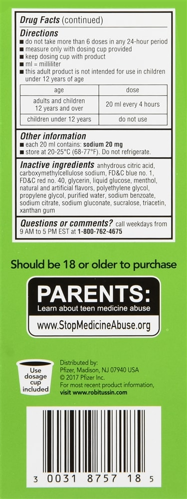 Robitussin Adult Cough + Chest Congestion DM Liquid