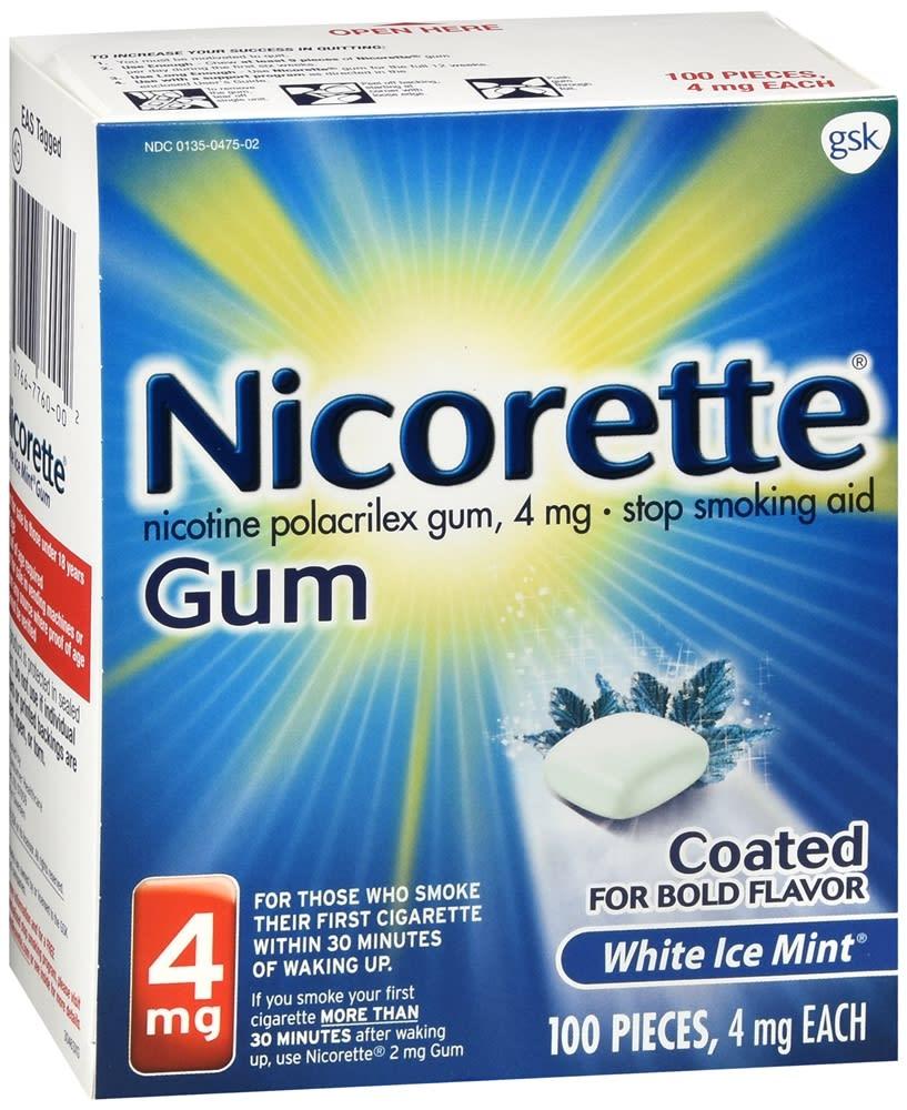 Nicorette Stop Smoking Aid Nicotine Gum 4mg White Ice Mint 100 Pieces