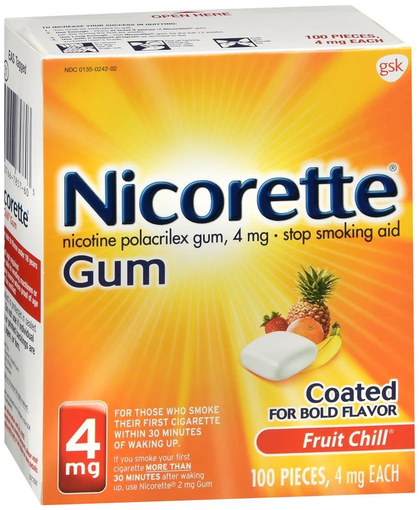Nicorette Stop Smoking Aid Nicotine Gum 4mg Fruit Chill 100 Pieces