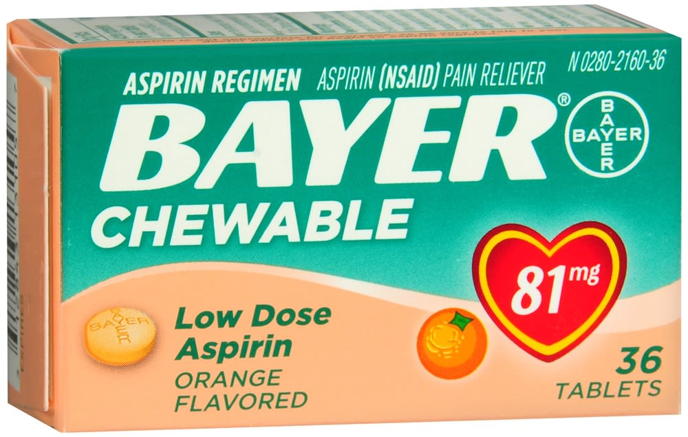 Bayer Low Dose Chewable Orange Flavored Tablets, Aspirin 81mg (36 Count)