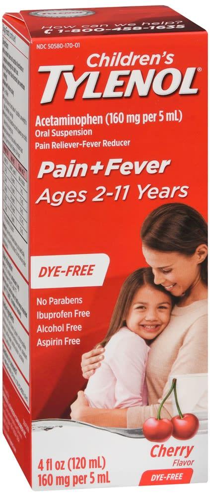 Tylenol Children's Pain + Fever Oral Suspension Dye-Free Cherry Flavor
