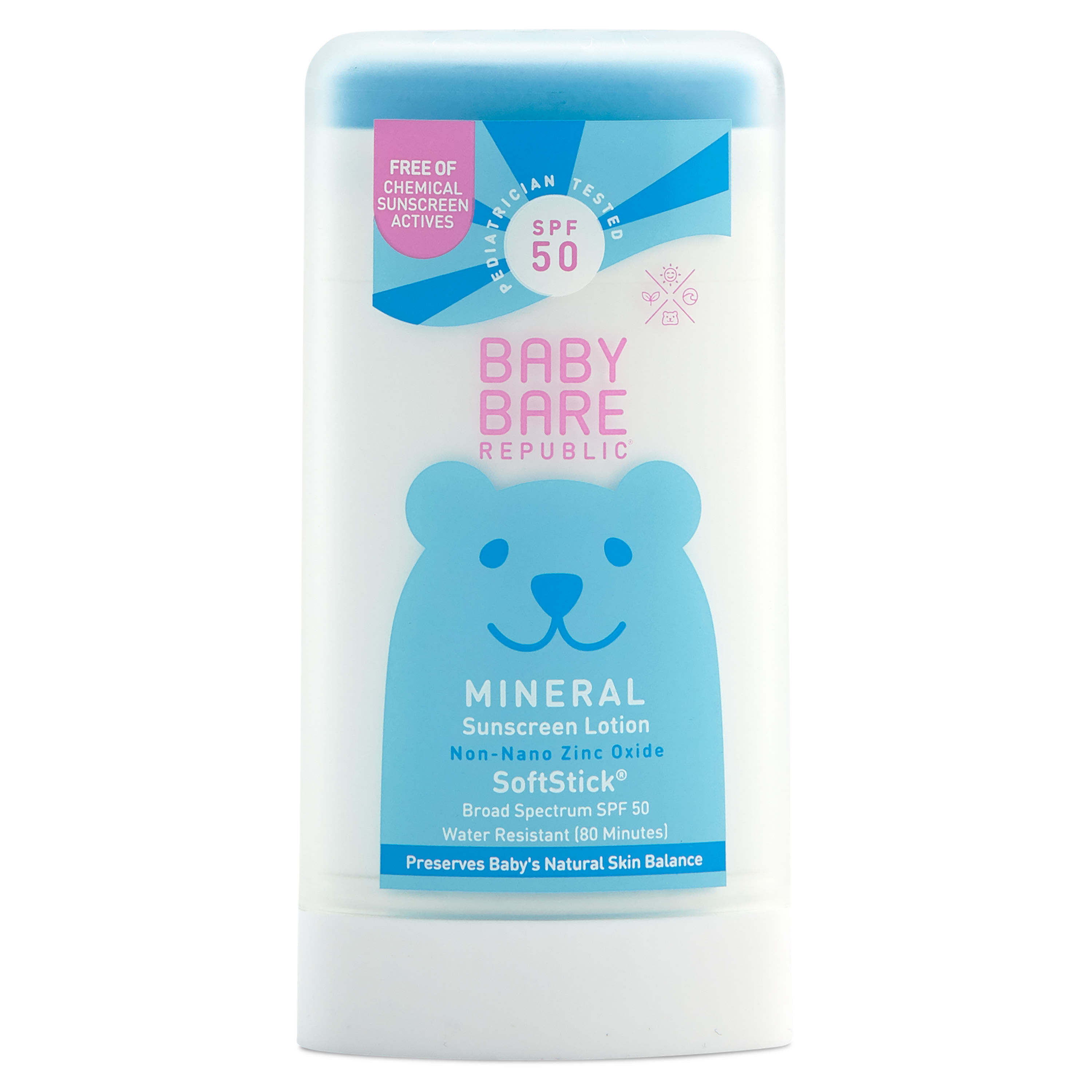 Bare Republic Mineral Baby Sunscreen Face & Body Soft Stick SPF 50, Unscented - .9 oz