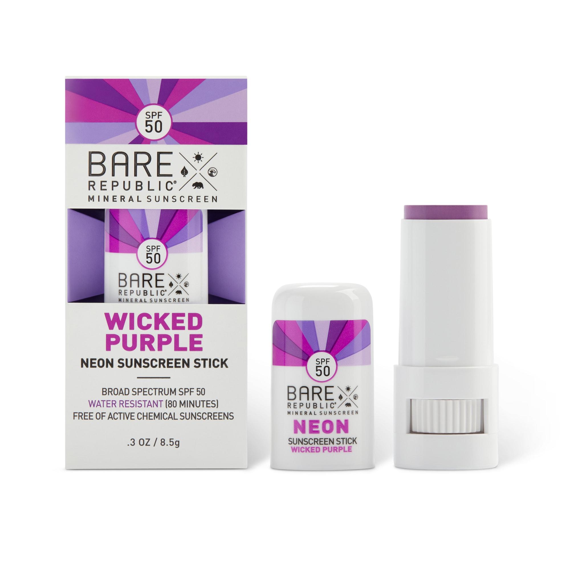 Bare Republic Mineral Sunscreen Neon Stick SPF 50, Wicked Purple - .3 oz