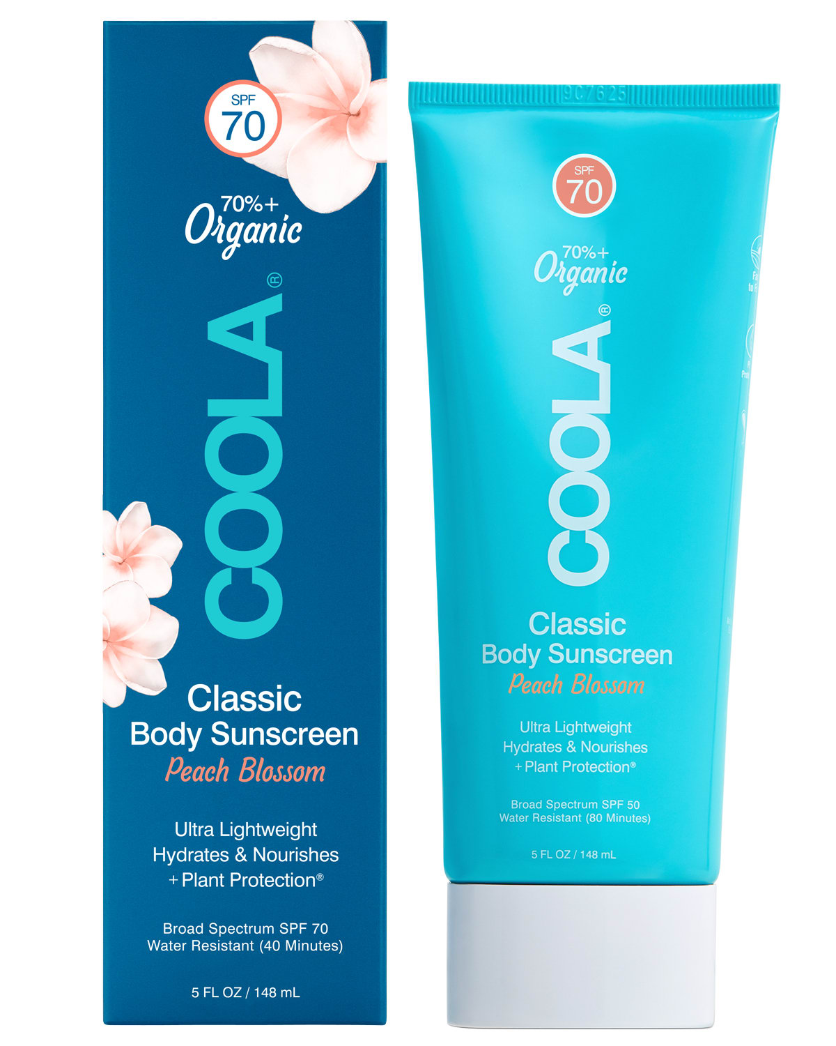 COOLA Classic Body Organic Sunscreen Lotion SPF 70, Peach Blossom - 5 fl oz