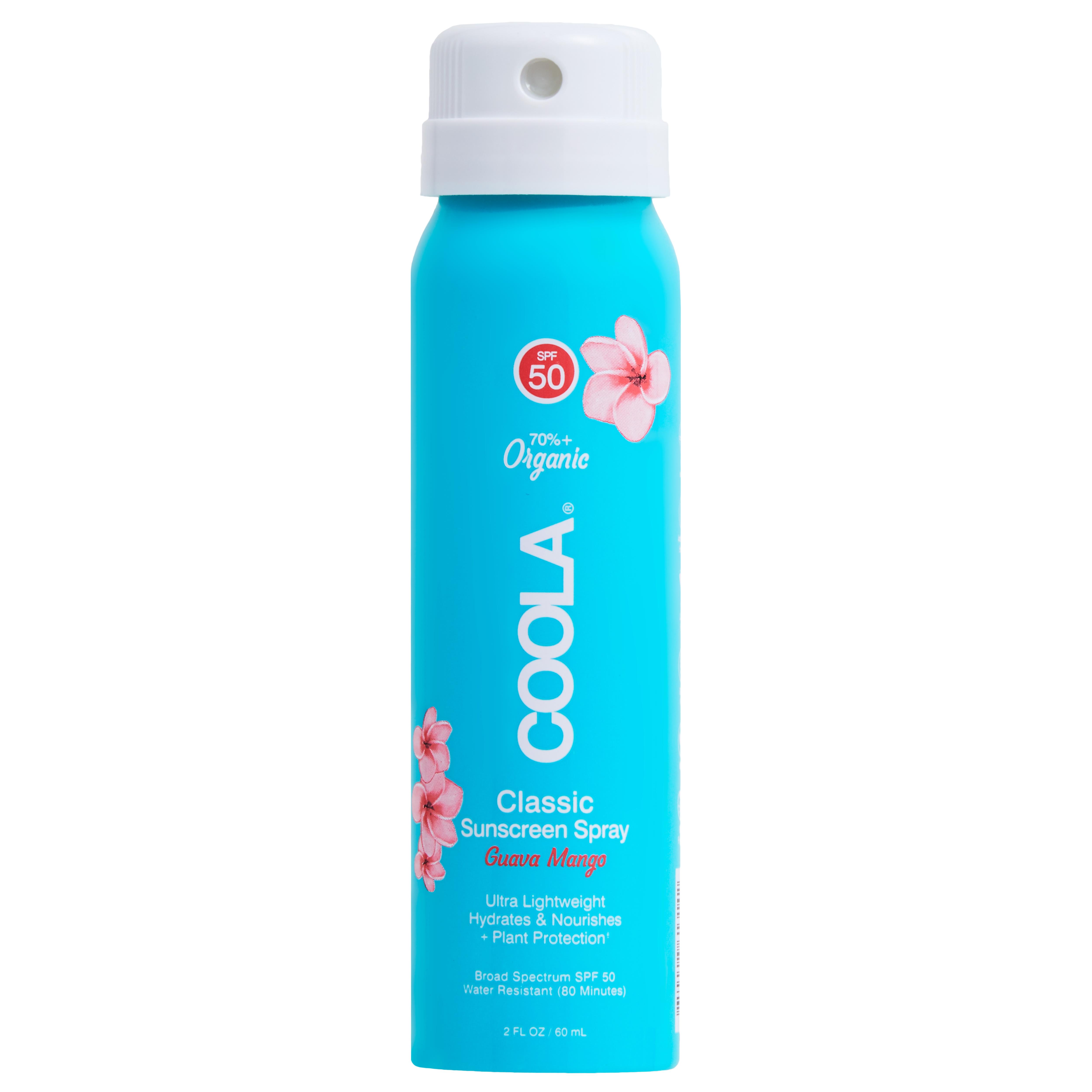 COOLA Classic Body Organic Sunscreen Spray SPF 50, Guava Mango - 2 fl oz