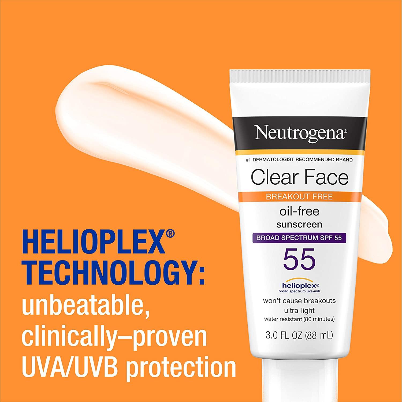 Neutrogena Clear Face Break-Out Free Liquid-Lotion Sunscreen SPF 55
