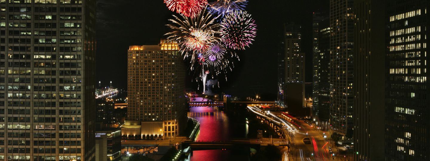 Fireworks Over Chicago River