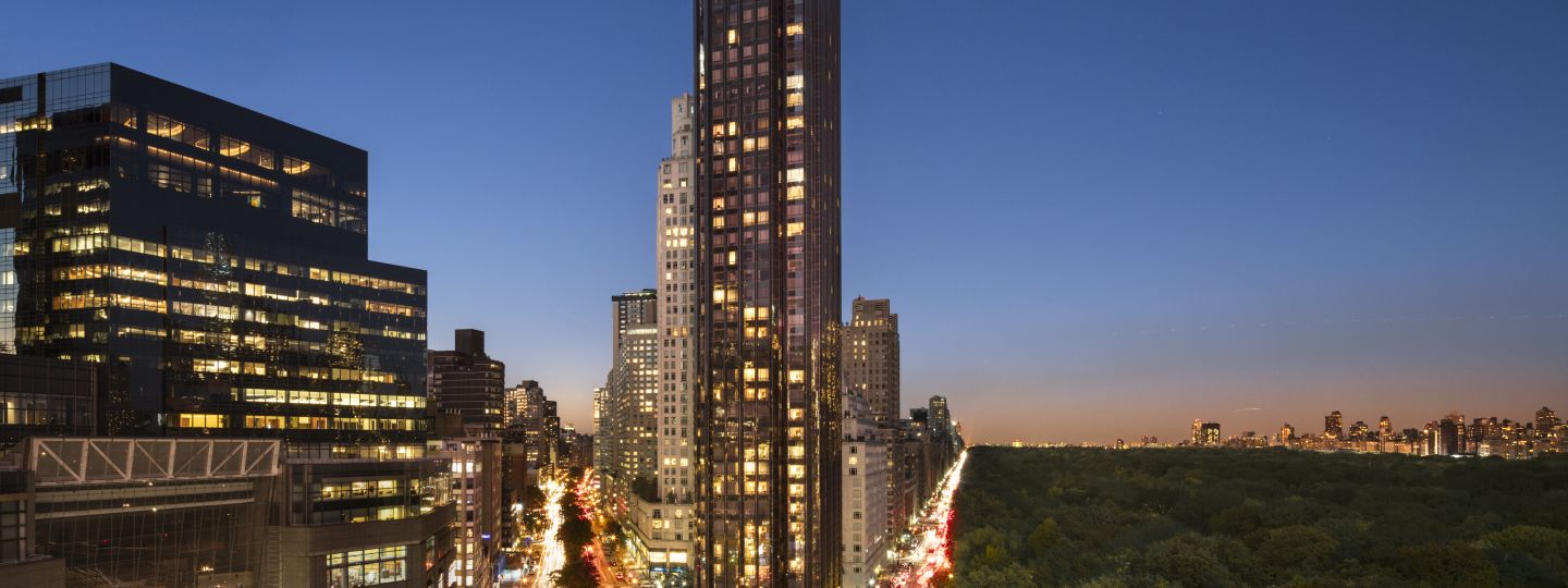 Exterior Shot Of Trump Central Park At Dusk