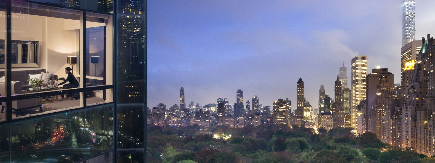 View Of Central Park At Dusk