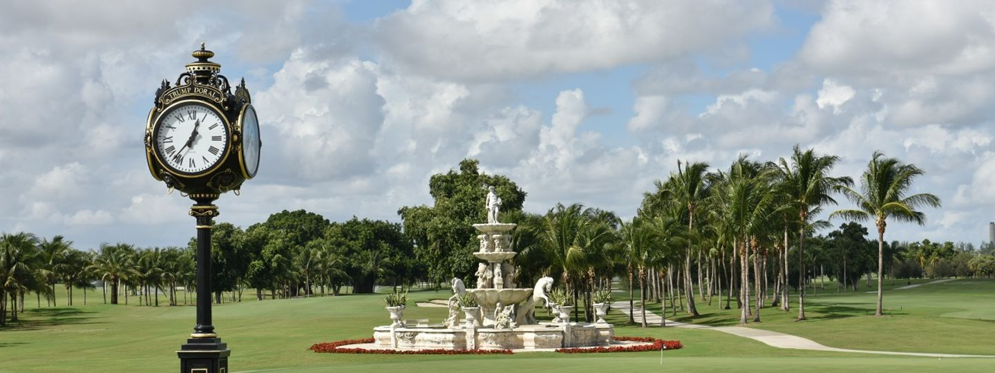 Trump Doral golf course showing fountain and large clock