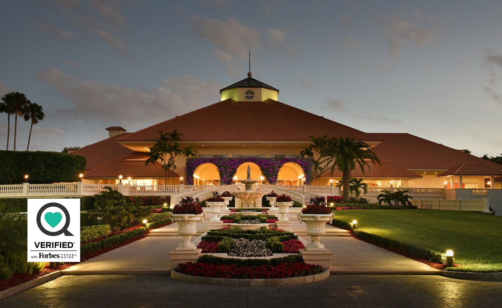 Trump Doral exterior with Forbes Verified badge overlaid on image