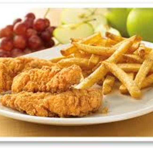 Chicken Fingers and French Fries, fruit in back