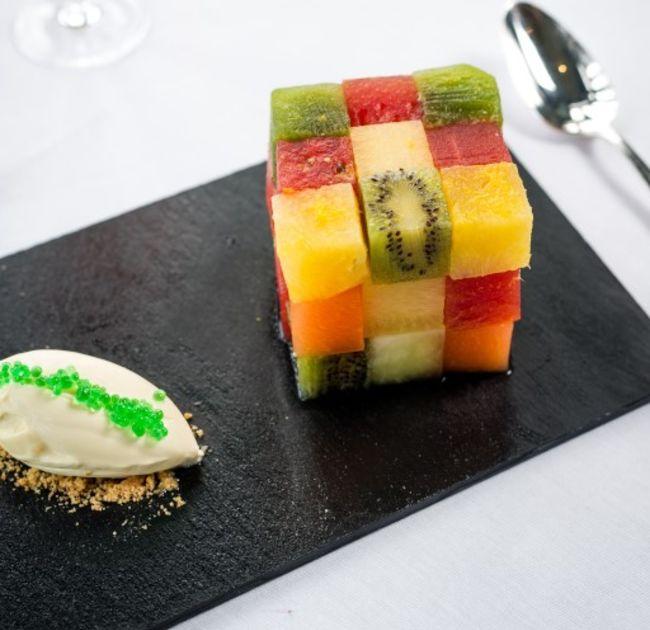 Cubed fruit dessert