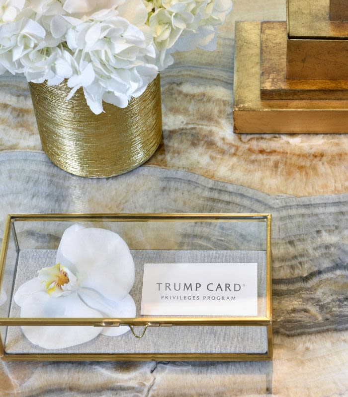 Trump Card Privileges Program card on marble table