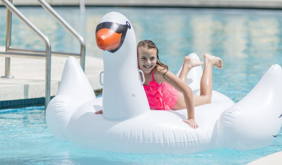 Child on Swan Pool Float