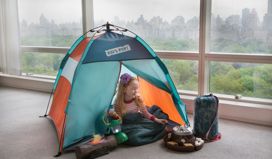 Little Girl In Tent Indoors