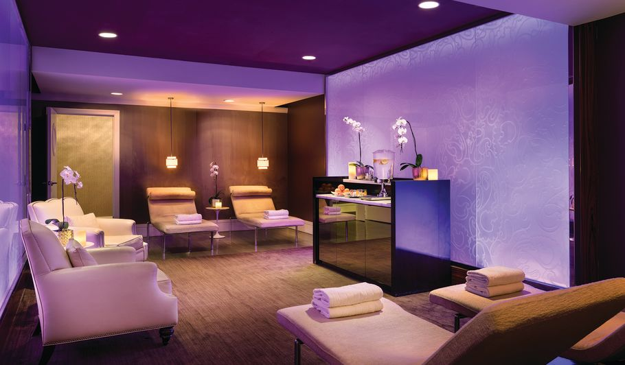 Spa lounge with mood lighting