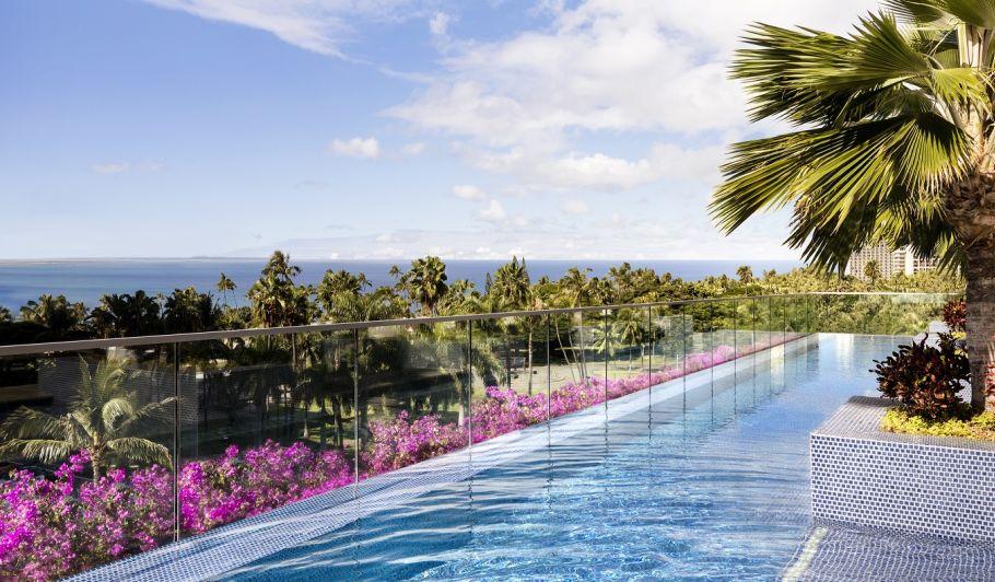 Trump Waikiki pool with Palm Trees