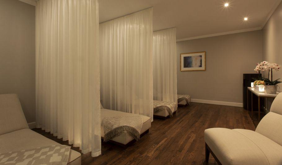 Spa lounge with mood lighting