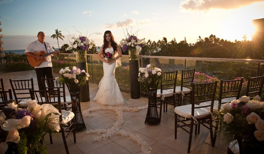 Wedding Ceremony with Bride & Guitar Player on Balcony at Sunset