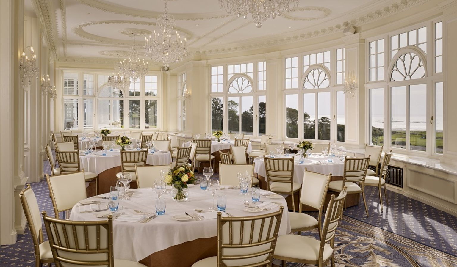 Crystal Ballroom with Tables Set for Dinner