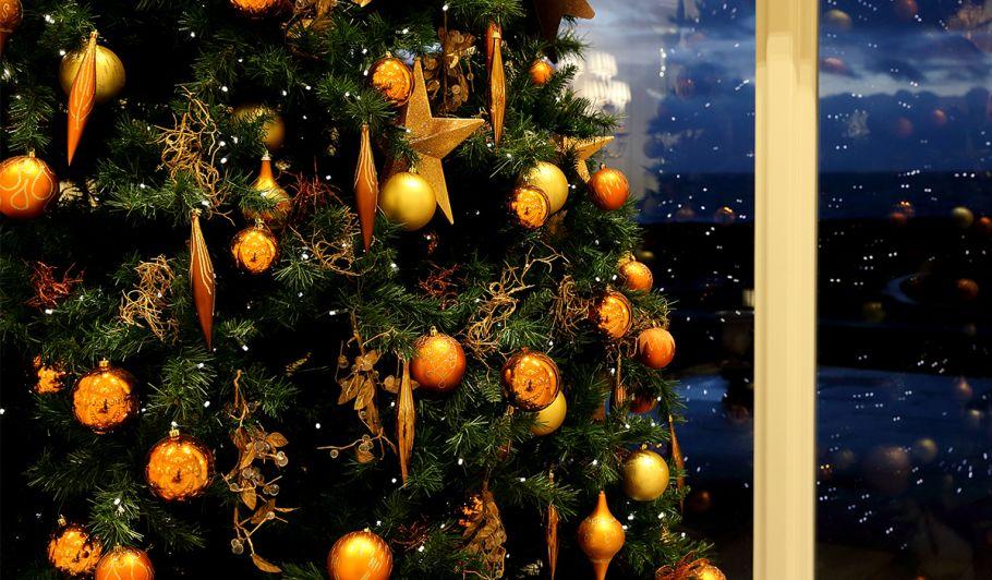Decorated Christmas Tree in Front of Window